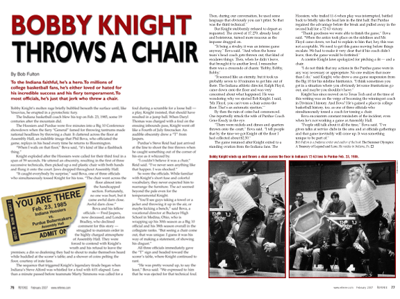 You Are There - Bobby Knight Throws A Chair - Referee Magazine